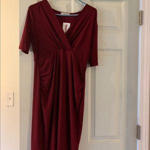 NEW Semi-formal burgundy maternity midi wrap dress